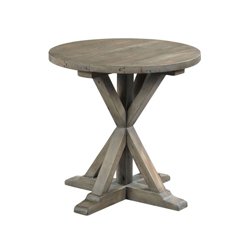 Trestle Round End Table