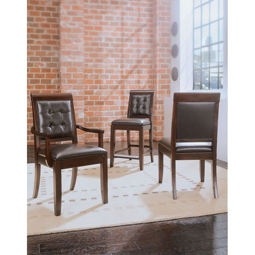 UPHOLSTERED LEATHER SIDE CHAIR-KD - 2