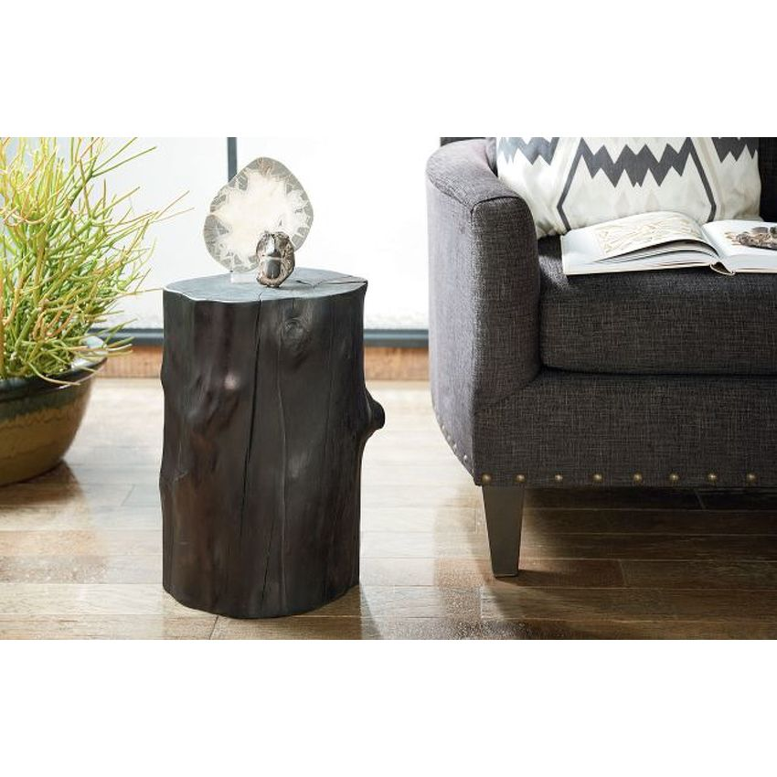 Charred Tree Trunk Accent Table - 2