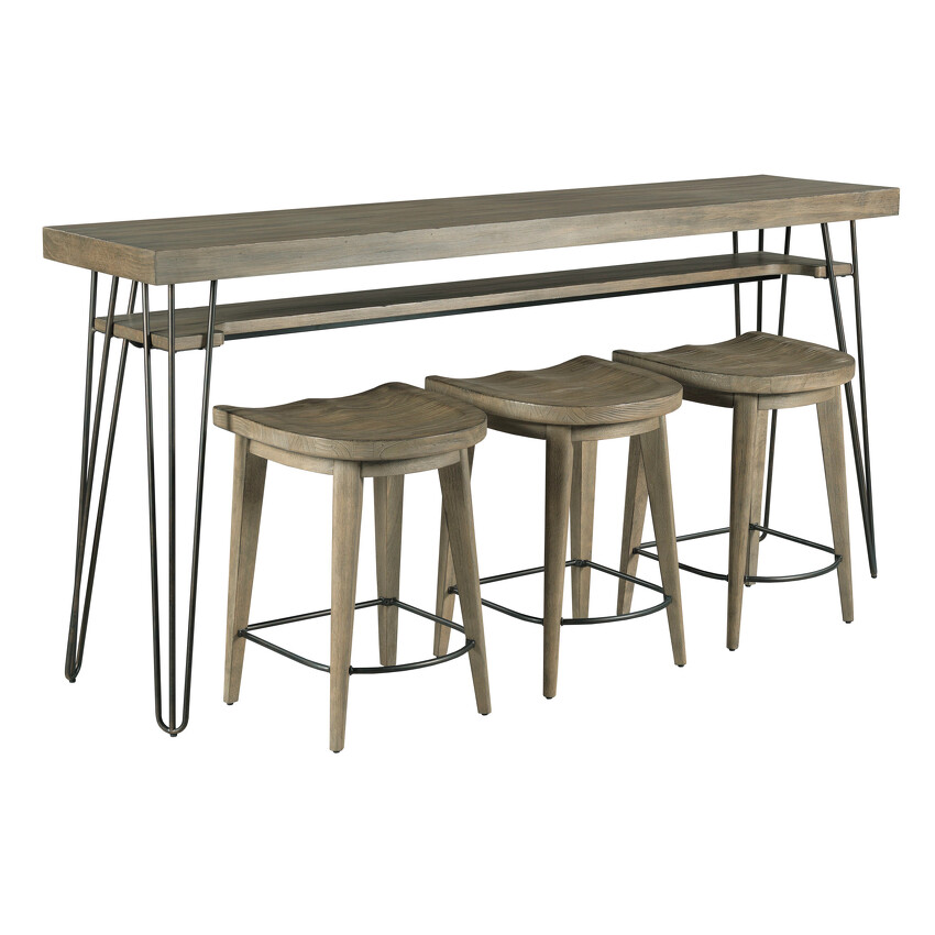 -BAR CONSOLE WITH THREE STOOLS