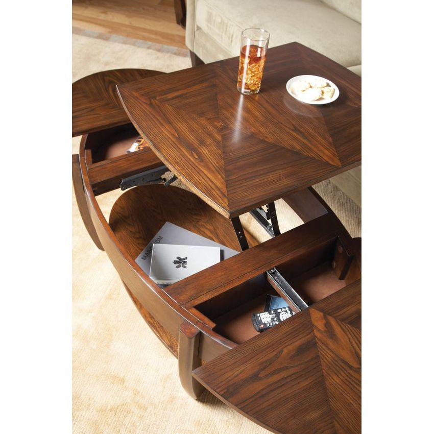 Oval Lift-Top Cocktail Table - 4